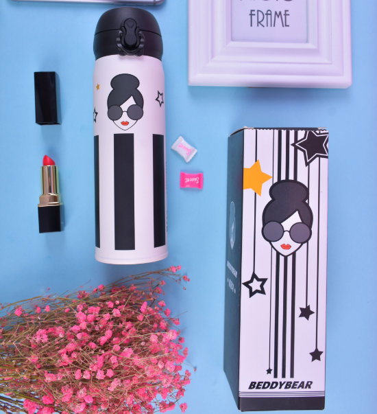 BeddyBear Vacuum Flask Lady Prints Series Star Design with Packaging Box