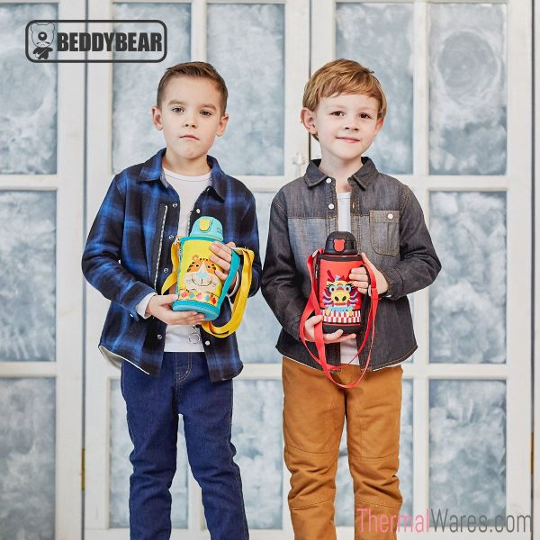 Two Boy Models posing with BeddyBear Children Vacuum Bottles in Tiger and Dragon Design