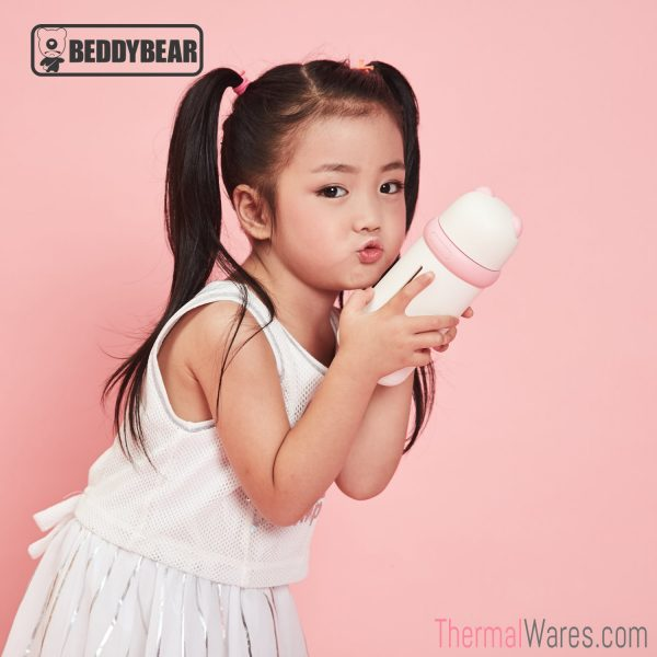 Little Girl posing with BeddyBear Double-Walled Insulated Bottle in White/Pink Color