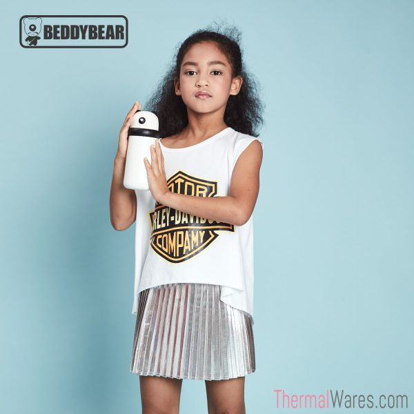 Young Girl posing with BeddyBear Double-Walled Insulated Bottle in White/Black Color
