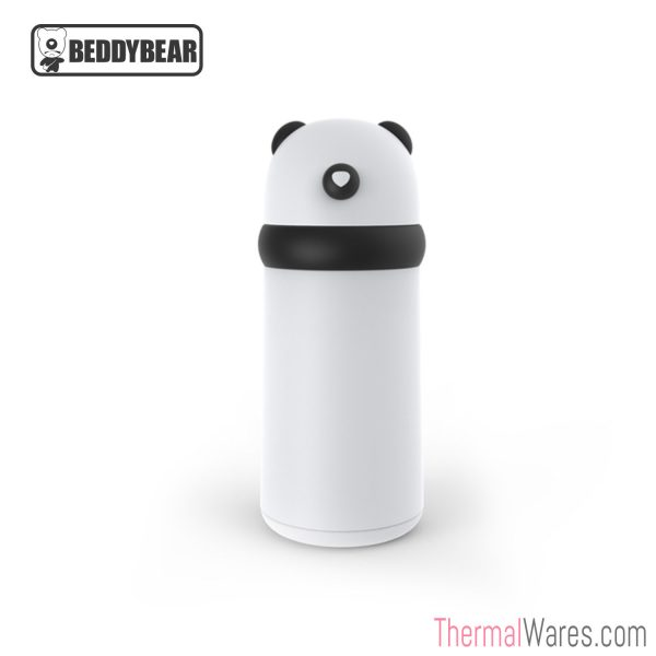 BeddyBear Double-Walled Insulated Bottle in White/Black Color