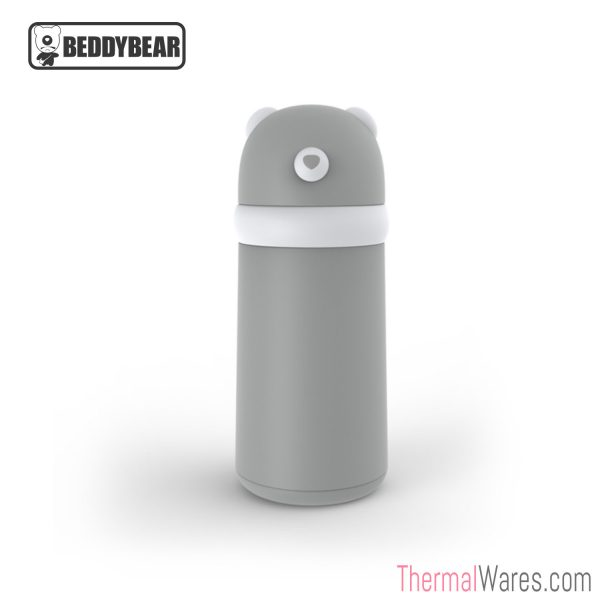 BeddyBear Double-Walled Insulated Bottle in Grey/White Color