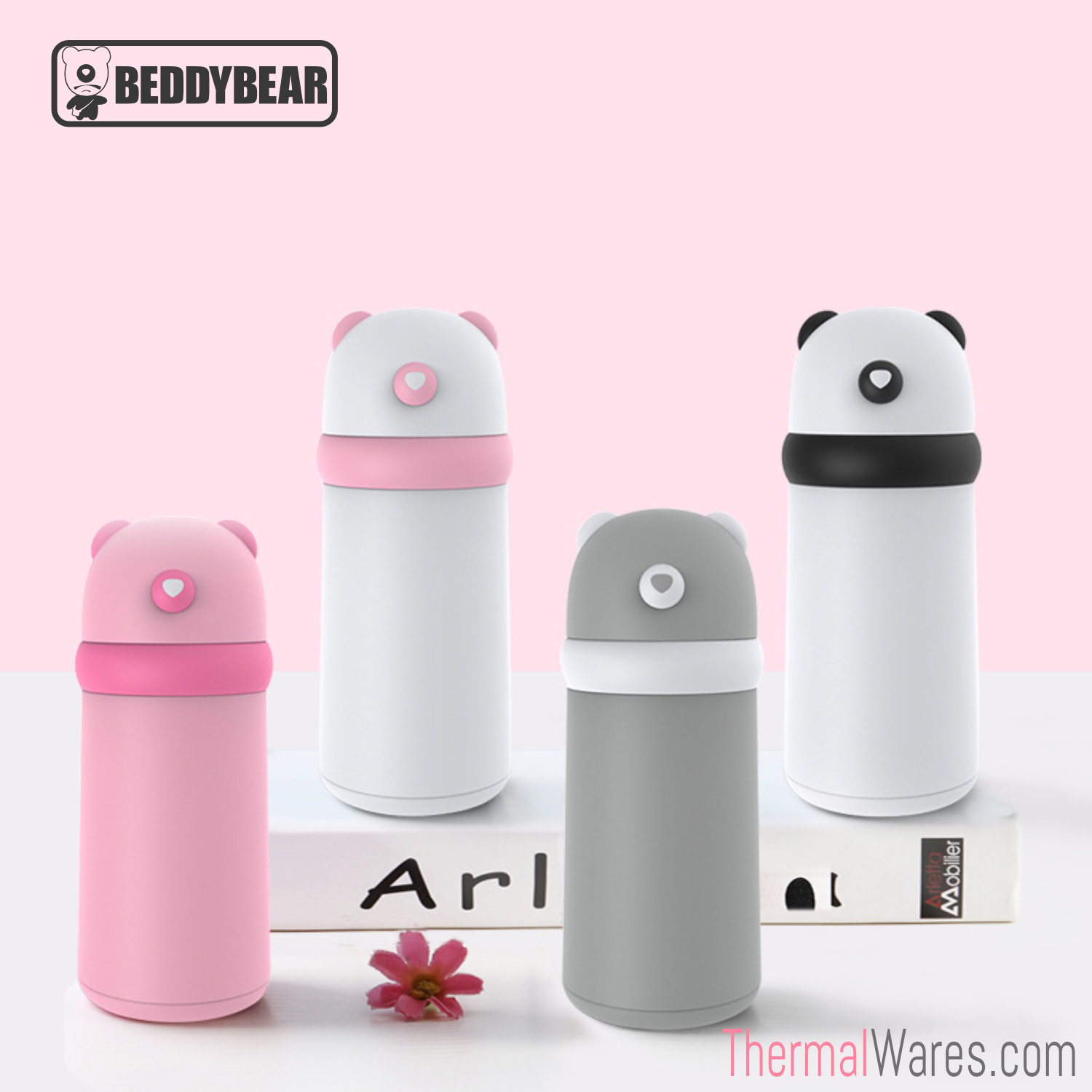 BeddyBear Glass Lined Water Bottle in Pink/Dark Pink, White/Pink, Grey/White and White/Black Colors
