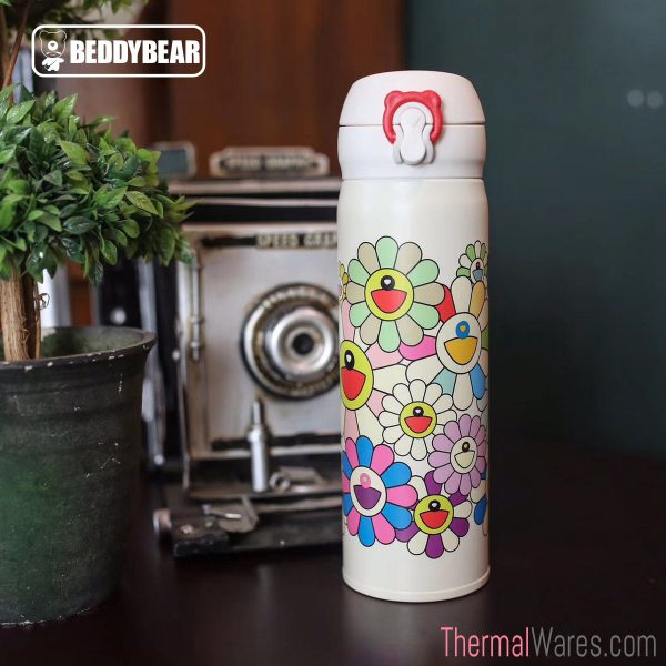 BeddyBear Vacuum Flask Floral Prints Series Big Buds White Design