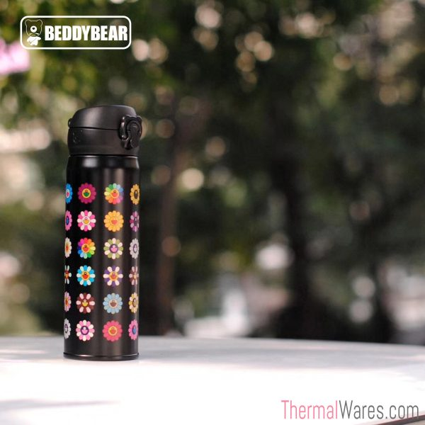 BeddyBear Vacuum Flask Floral Prints Series Small Buds Black Design