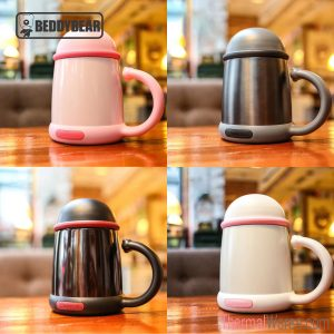 BeddyBear Insulated Coffee Mug With Handle in Pink, Grey, Black and White Colors