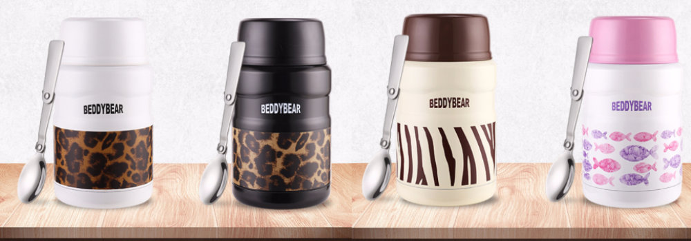 BeddyBear Vacuum Food Container Prints Series with 304 Stainless Steel Interior