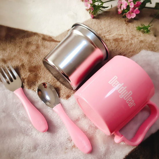 BeddyBear Dining Set Pink Color - Cup, Fork and Spoon (Laid Down)