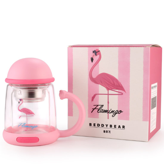 BeddyBear Double Walled Glass Insulation Mug Prints Series Flamingo Design with Packaging Box