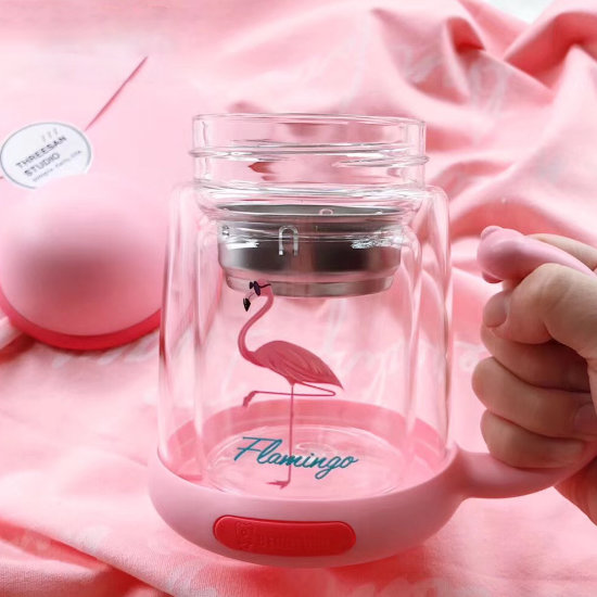 BeddyBear Double Walled Glass Insulation Mug Prints Series Flamingo Design with Tea Strainer (Front View)