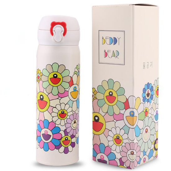 BeddyBear Vacuum Flask Floral Prints Series Bigs Buds White Design with Packaging Box