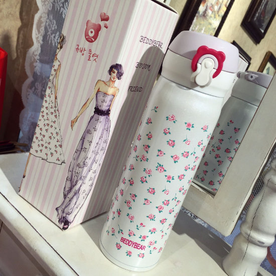 BeddyBear Vacuum Flask Floral Prints Series Mini Buds White Design with Packaging Box