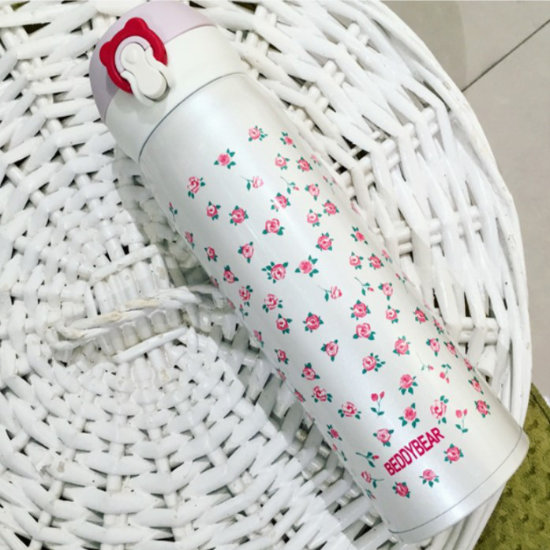 BeddyBear Vacuum Flask Floral Prints Series Mini Buds White Design (Laid Down)