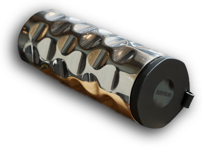 PNG Version of BeddyBear Vacuum Flask Wave Design in Metallic Silver with Black Screw Cap off (beside the flask)