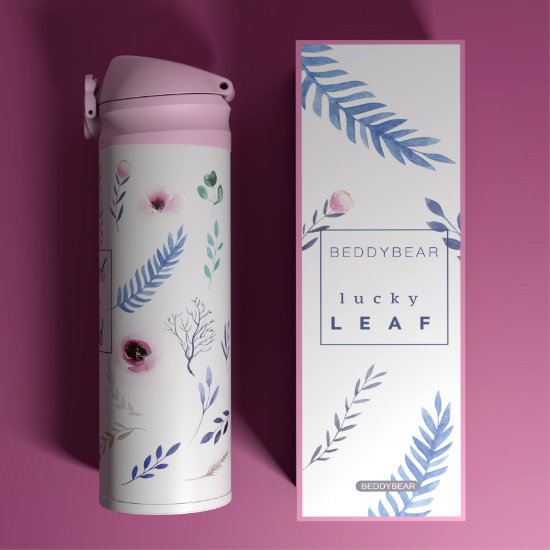 BeddyBear Vacuum Flask Classic Prints Leaf Design (Side View) with Packaging Box