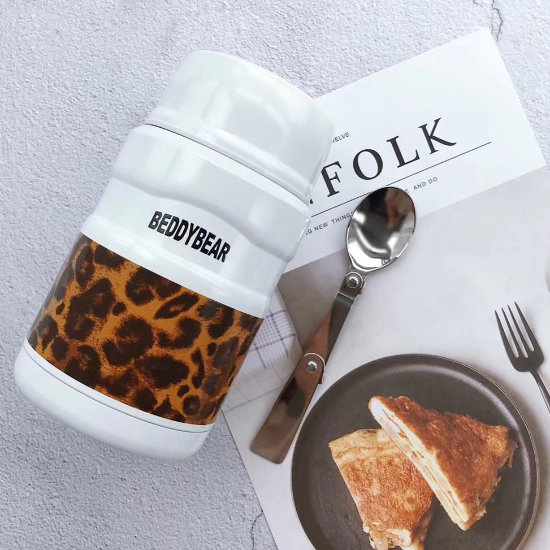 BeddyBear Vacuum Food Container Prints Series Leopard White Design with spoon (Laid Down)
