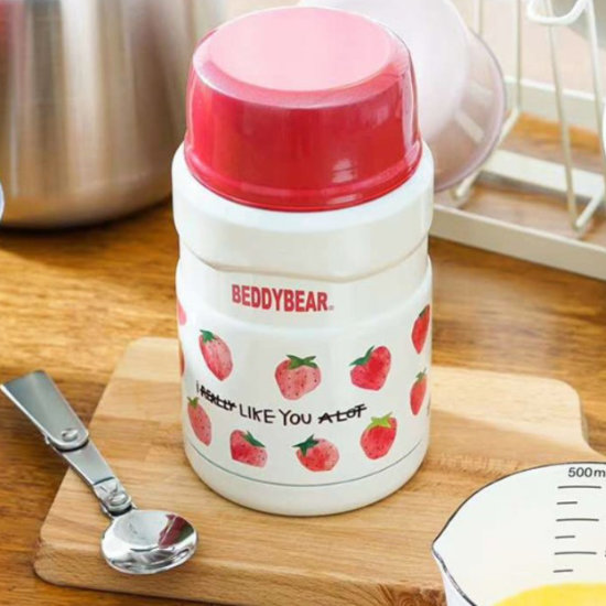 BeddyBear Vacuum Food Container Prints Series Strawberry Design with foldable stainless steel spoon