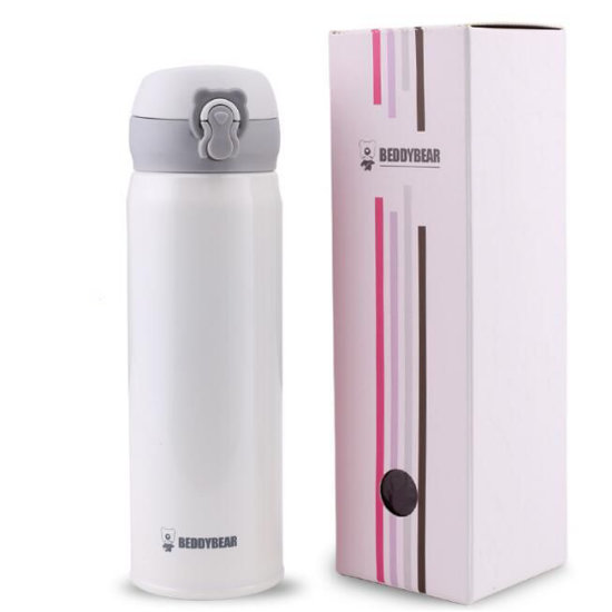 BeddyBear Vacuum Flask Pure White Color with Packaging Box
