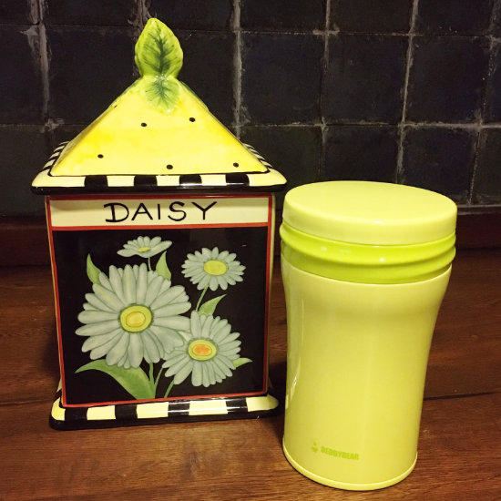 BeddyBear Vacuum Food Container Green Color beside an ornament