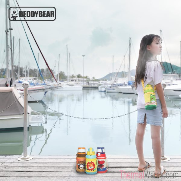 One Girl Model posing with BeddyBear 16 oz Thermal Water Bottle for Kids