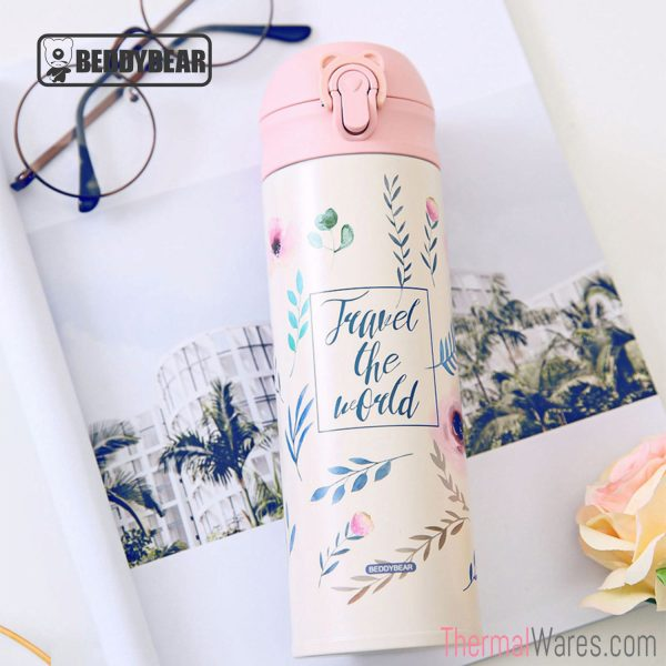 BeddyBear Vacuum Flask in Classic Prints Series Leaf Design (Laid Down)