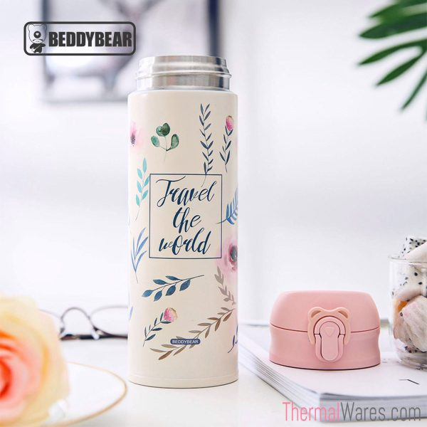 BeddyBear Vacuum Flask in Classic Prints Series Leaf Design with Cap Off (beside the flask)