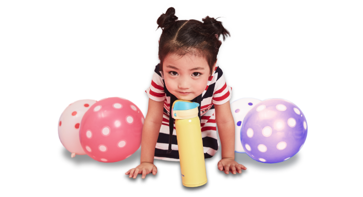 Little Girls with BeddyBear Insulated Flask and Balloons