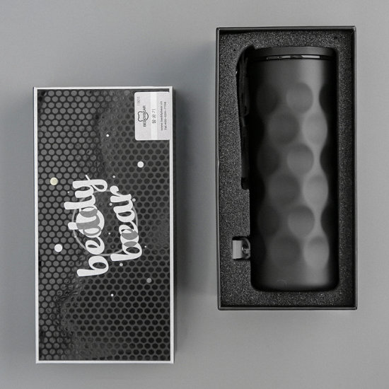 BeddyBear Vacuum Flask Classic Wave Design Black Color in Packaging Box