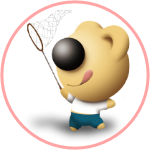Colored BeddyBear Logo with Butterfly Net