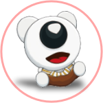 Colored BeddyBear Logo sitting and laughing